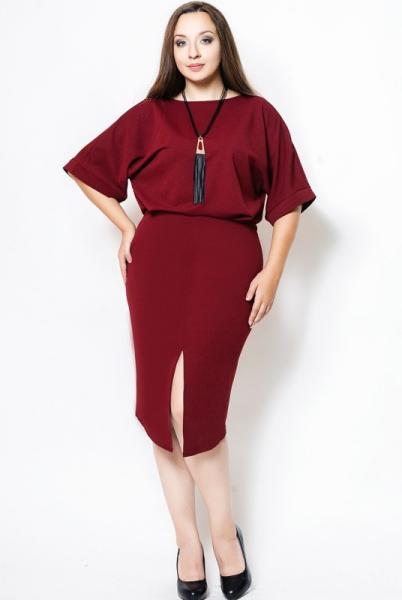 "Платье большого размера ""Маристелла"" бордо"