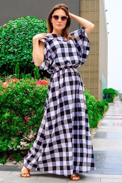 Платье в черно-белую клетку Шерлиз
