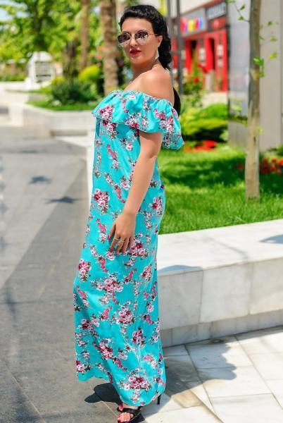 """Платье платье большого размера """"Venera принт"""", ментол"""
