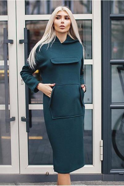 Платье с капюшоном Женева изумруд