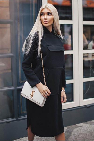 Платье свободное Женева черное