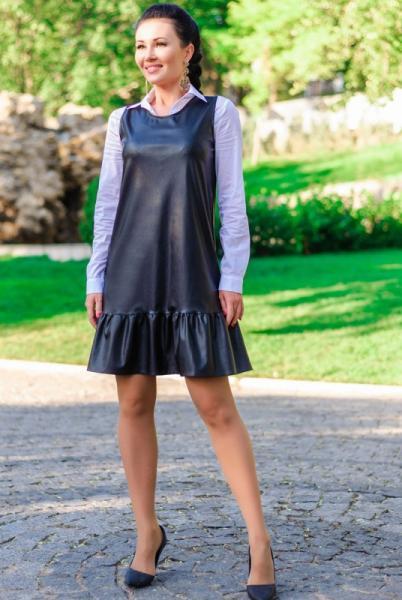 """Платье черное """"Сицилия"""" экокожа"""