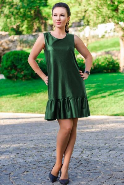 """Платье-сарафан экокожа """"Сицилия"""", изумрудный"""