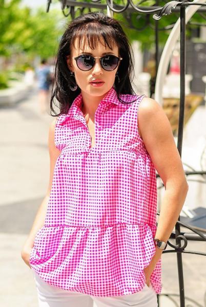 """Розовая летняя блузка без рукавов """"Винтаж"""""""