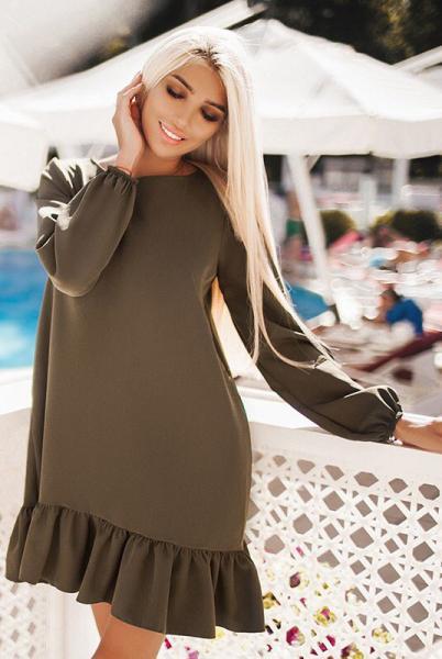 Свободное женское платье Розалия хаки