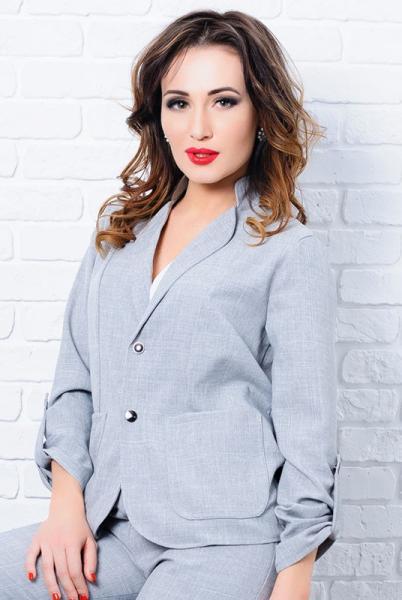 Стильный женский пиджак Миканос серый