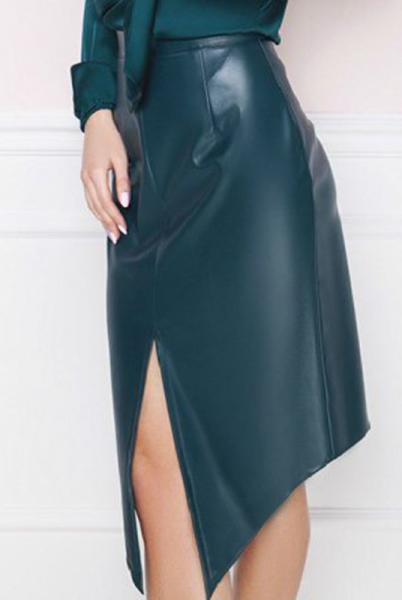 Темно-зеленая кожаная  юбка  Эстель