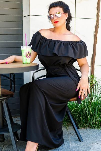 Черное платье батал Venera