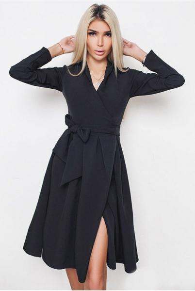 Черное платье по колено АВРОРА