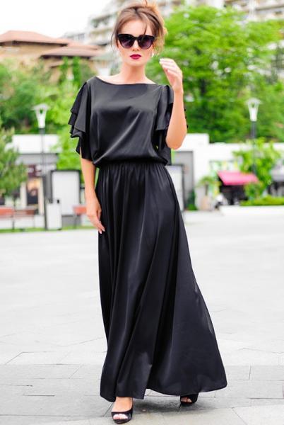 Черное шелковое платье Шерлиз