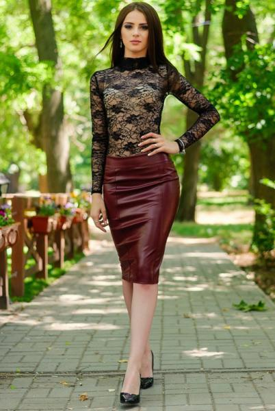 Фото Одежда больших размеров, Женские юбки батал Юбка экокожа