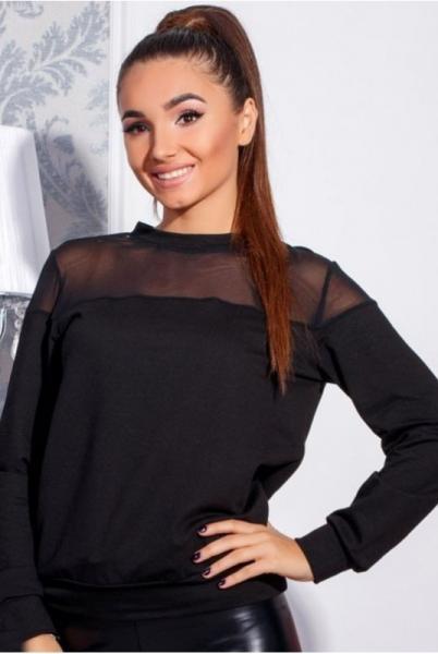 Фото Одежда больших размеров, Батальные кофты, свишоты, водолазки Cвитшот черный с сеточкой Ненси