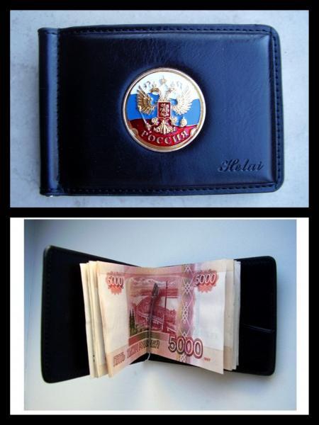 Зажим для денег с жетоном -  Россия триколор