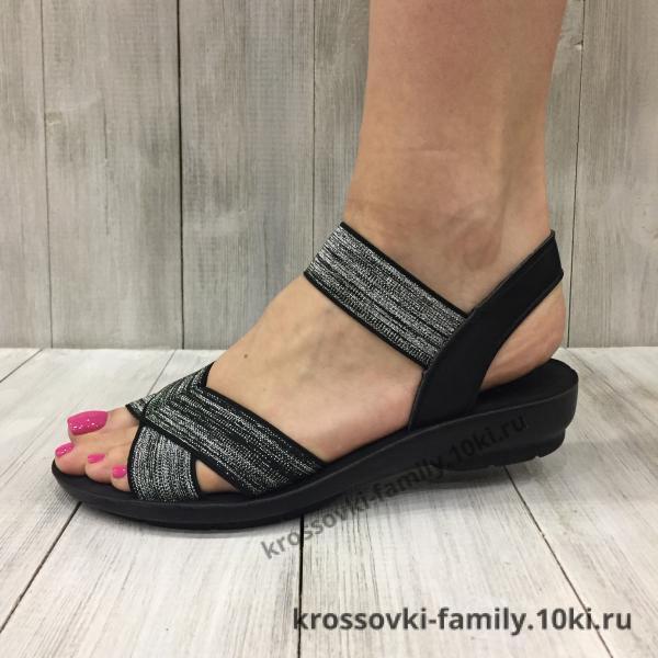 Фото Женская обувь, Босоножки Босоножки женские черные с серебром