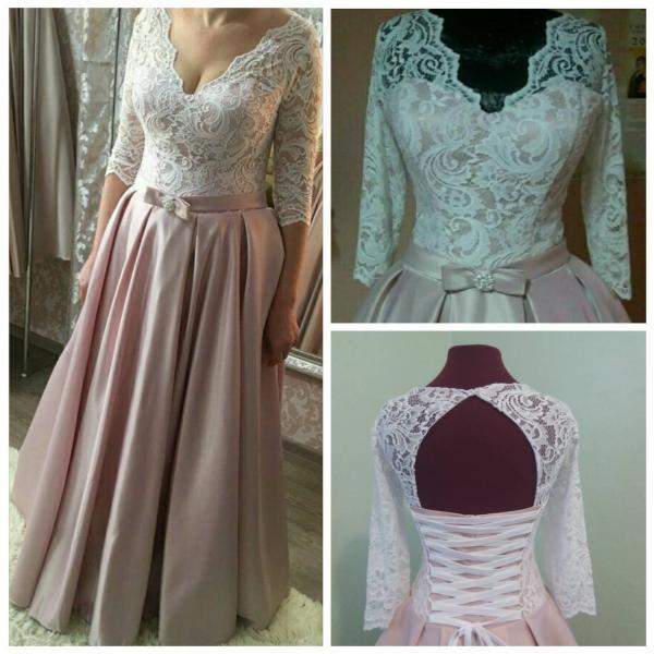 Атласное свадебное платье с кружевными рукавами Инесса