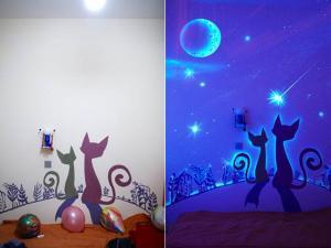 Фото Флуоресцентная краска и пигменты, светятся под воздействием УФ источника Флуоресцентная краска для интерьера Эко