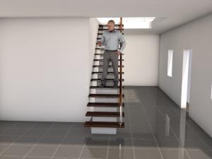 Фото Монолитная лестница на косоуре Прямой марш на косоуре