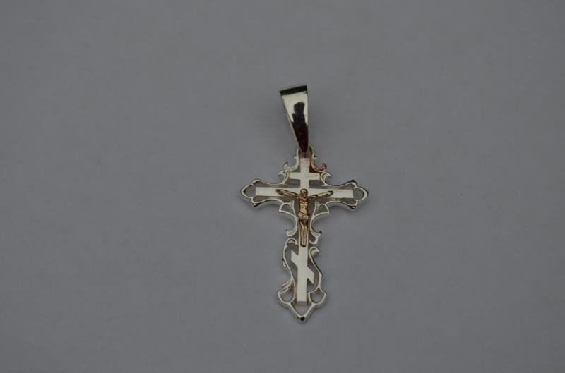 Серебряный крест с золотым распятием 585