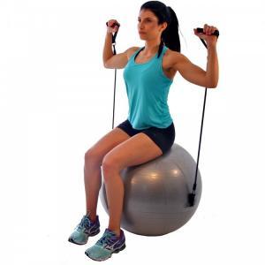 Фото Фитболы (мячи для фитнеса), балансировочные полусферы BOSU Фитбол с эспандером LiveUp, 65см