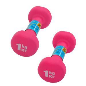 Фото Гантели  виниловые, неопреновые, пластиковые Неопреновые гантели 1 кг (пара), розовые