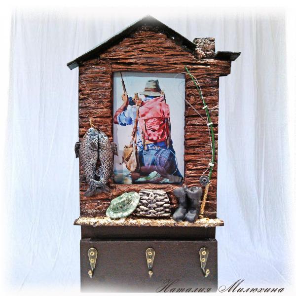 Фоторамка - ключница Клевого клева Оригинальный подарок мужчине рыбаку Ручная работа
