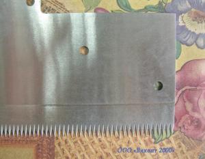 Фото  Нож зубчатый 190х132х1, 5 мм для отсечки полотна с самоклеющимися материалами