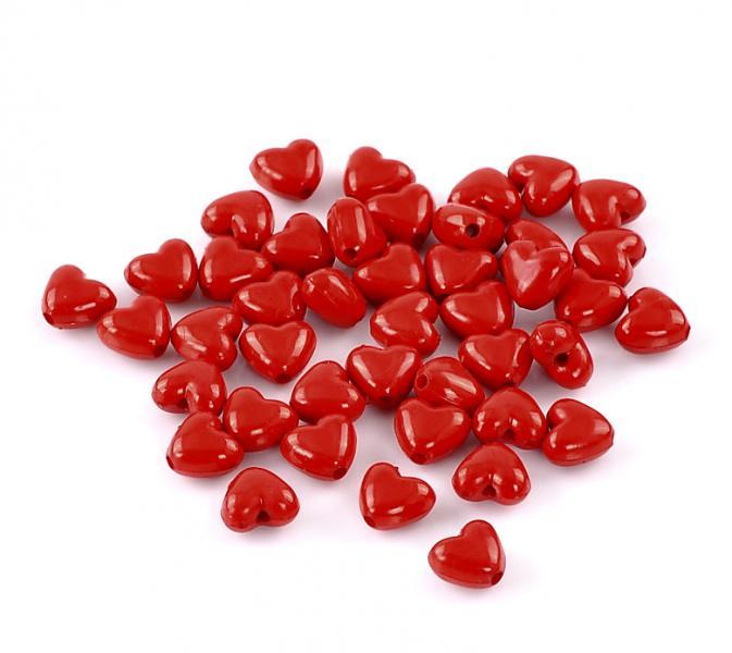 Фото  Бусина   красная , пластиковая  в  виде  сердца  11 * 10 мм . 30 штук
