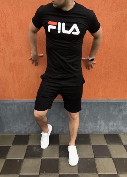 Мужской летний спортивный костюм (шорты+футболка) Fila