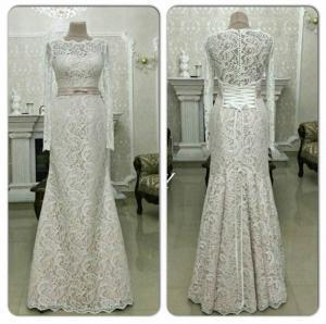 Фото Свадебные платья Кружевное свадебное платье русалка капучино Инесса
