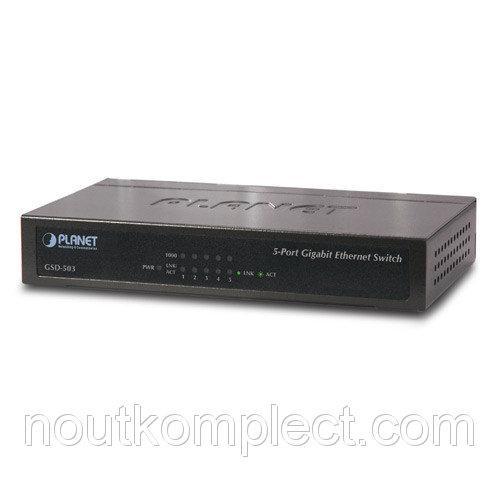 Гигабитный коммутатор для дома и малого офиса Planet GSD-503 (5-Port 10/100/1000Mbps)