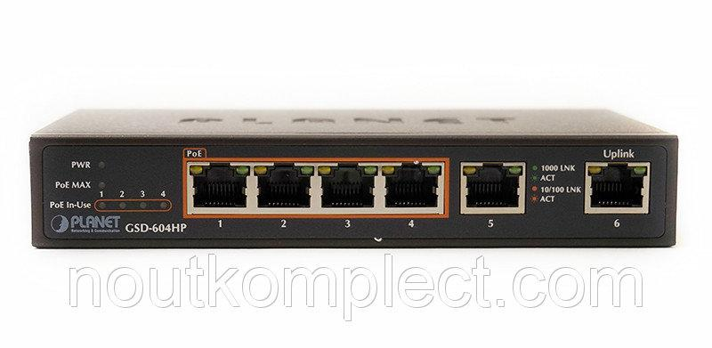 Гигабитный коммутатор для дома и малого офиса Planet GSD-604HP (4-Port 802.3at PoE + 2-Port 10/100/1