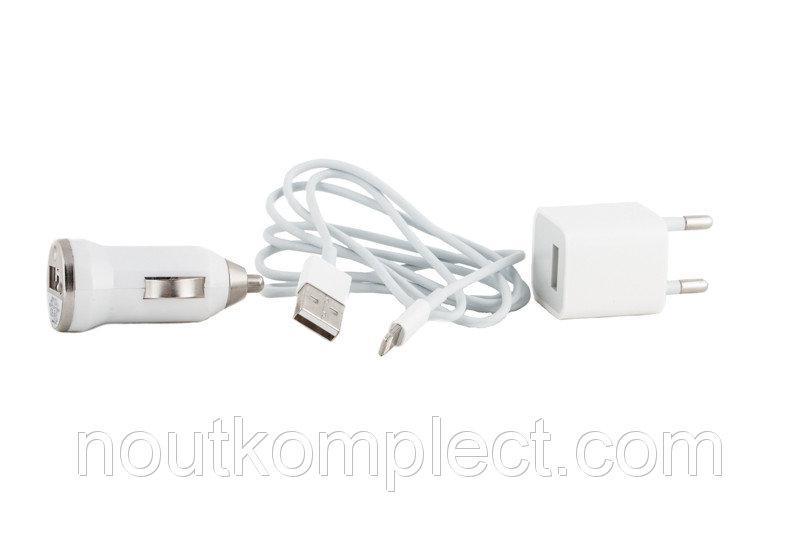 Зарядное устройство PowerPlant USB - Lightning 12V+220V+kab, 1A