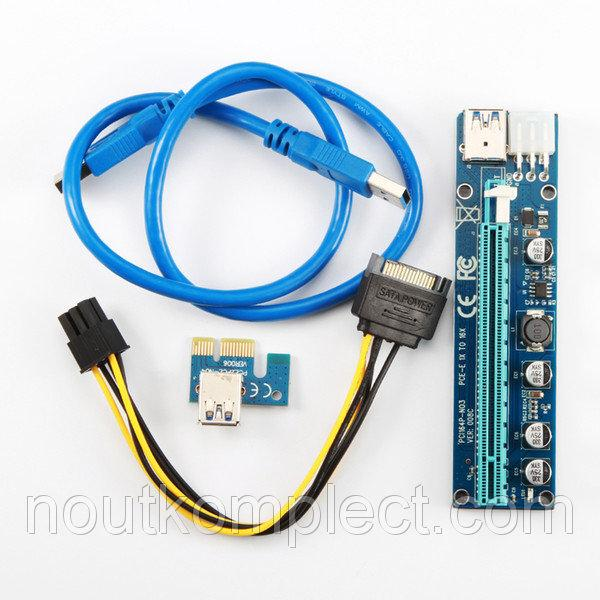 Синий Райзер riser PCI-Ex x1 to x16, Video PSU 6pin, Version 008C, USB, 0.6m, BLUE