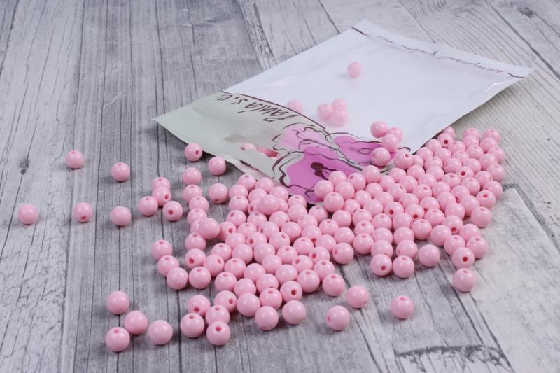 Фото Бусины ,полубусины ,стразы,.цветок.шина, тесьма пластик, Бусины  разные Бусины  пластиковые   светло Розовые  матовые  8 мм .