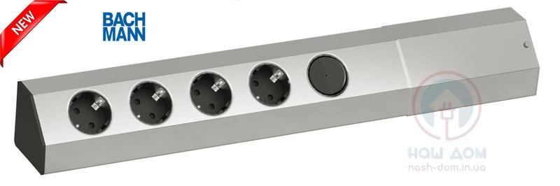 Накладной блок розеток Bachmann Casia 4x220 (Schuko) + выключатель