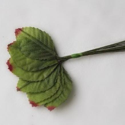 Листик розы тканевый 4 * 2,5 см. Длина проволочки 7 см. В одной  упаковочке 12 шт.
