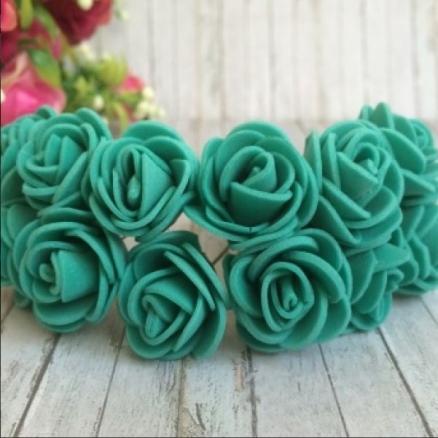 Фото Цветы искусственные, Роза латексная 2,5см Роза латексная  2,5 см ,  цвет  Тифани ,  упаковка 12  цветочков.