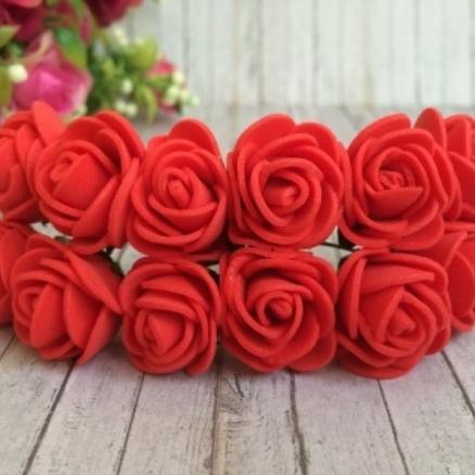 Фото Цветы искусственные, Роза латексная 2,5см Роза латексная,  Коралово - красная  2,5 см .  упаковка  12  цветочков .