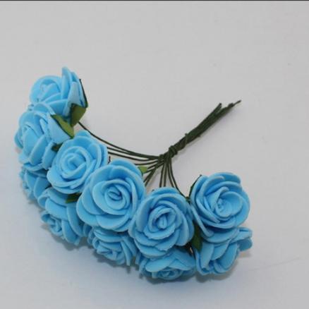Фото Цветы искусственные, Роза латексная 2,5см Роза латексная,  голубая 2,5 см.  упаковка  12  цветочков .