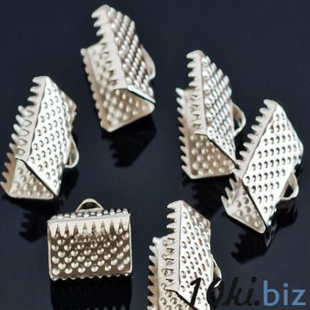 Конектор - зажим для  бус, цвет под белое серебро 10 * 7,5  мм. купить в Нежине - Элементы для самостоятельного изготовления украшений