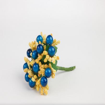 Тычинка - веточка  пучёк 12 веточек  пенопластовые кремово-желтого цвета и синяя ягодка 10мм