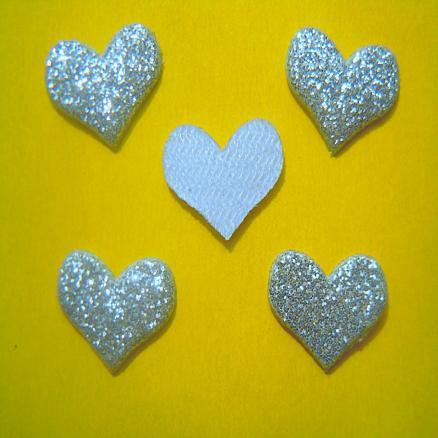 Сердечко на тканевой  основе 14х10 мм серебро