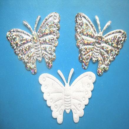 Фото Тканевый декор Бабочка на тканевой основе  48 х 35 мм.  серебро