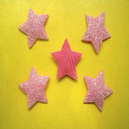 Звёзды на тканевой основе 17 мм  розовые