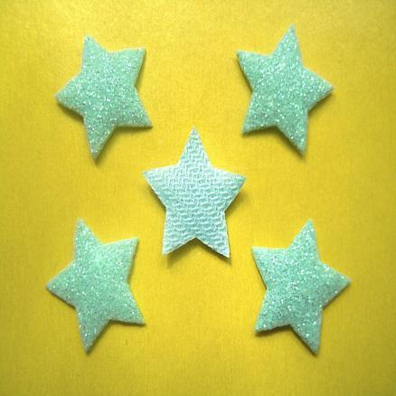 Фото Вязаный  и  тканевый  декор . Звёзда  с  глитером  на тканевой основе 17 мм .  Бирюзовая , упаковка  20 шт.
