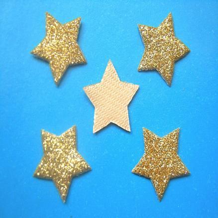 Звёзды на тканевой основе 17 мм  золото