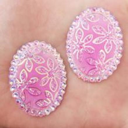 Кабашон с имитацией страз узором и рисунком цветы 30х40мм розовый