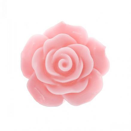 Кабашон роза акрил 20 мм розовая