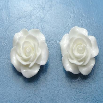 Кабашон акрил роза белая 20 мм