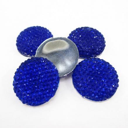 Кабашон  синий  19 мм  в пупырышках